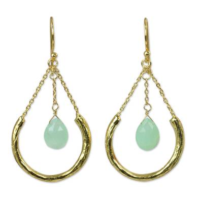 Gold Plated Sterling Silver Earrings with Green Chalcedony