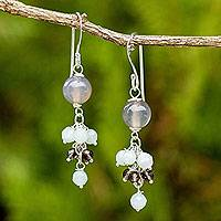 Amazonite and smoky quartz dangle earrings, 'Jingle' - Chalcedony Gemstone Earrings with Amazonite and Smoky Quartz