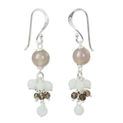 Chalcedony Gemstone Earrings with Amazonite and Smoky Quartz