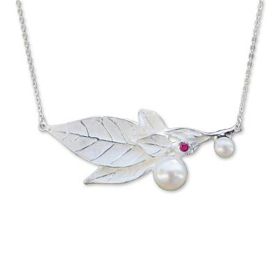 Contemporary Sterling Silver Necklace with Pearl and Ruby
