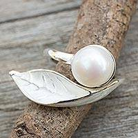 Cultured pearl wrap ring, 'Blossom in the Snow' - Cultured Pearl Handcrafted Sterling Silver Wrap Ring