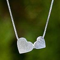 Sterling silver heart necklace, 'A Couple's Heart' - Original Brushed Silver Heart Necklace from Thailand