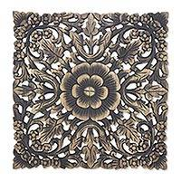 Reclaimed teakwood wall panel, 'Beloved Black Blossoms' - Vintage Black Reclaimed Teakwood Floral Relief Panel