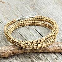 Men's leather macrame bracelet, 'Subtle Style in Tan' - Tan Leather Macrame Bracelet for Men from Thailand