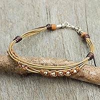 Men's leather and sterling silver bracelet, 'Genuine in Tan' - Handmade Men's Cord Bracelet in Tan Leather with Silver