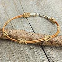Men's leather bracelet, 'Staccato in Tan' - Men's Artisan Crafted Tan Leather Cord Bracelet