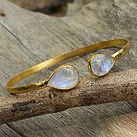 Gold plated rainbow moonstone cuff bracelet, 'Precious Hug' - Rainbow Moonstone Cuff Bracelet Bathed in 24 Karat Gold