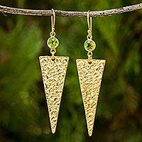 Gold vermeil peridot dangle earrings,