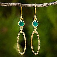 Gold vermeil chalcedony dangle earrings, 'Golden Offering' - Green Chalcedony Earrings Set in 24k Gold Plated Silver