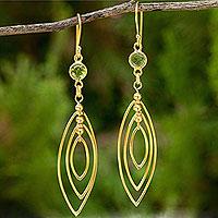24k gold plated peridot dangle earrings,