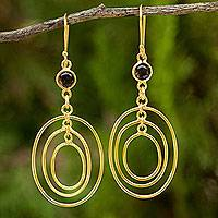 24k gold plated smoky quartz dangle earrings,