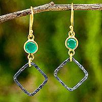 Gold vermeil dangle earrings, 'Sense of Precision' - Gold Vermeil Earrings with Chalcedony and Sterling Silver