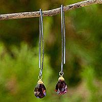 Garnet dangle earrings, 'Sublime Sparkle' - Silver and Garnet Earrings with Gold Vermeil