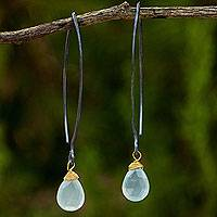 Chalcedony dangle earrings, 'Sublime Blue Sparkle' - Earrings Chalcedony Gold Vermeil Accent Earrings with Silver