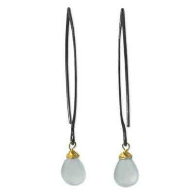 Earrings Chalcedony Gold Vermeil Accent Earrings with Silver