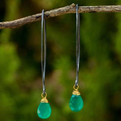 Chalcedony dangle earrings, Sublime Green Sparkle