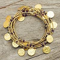 Gold plated amethyst wrap bracelet, 'Solar Magic' - Wrap Bracelet with Gold Plated Charms and Amethysts