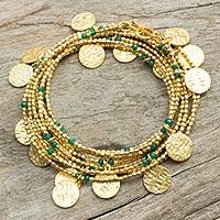 Gold plated wrap bracelet, 'Solar Magic' - Handmade Gold Plated Wrap Bracelet with Green Chalcedony