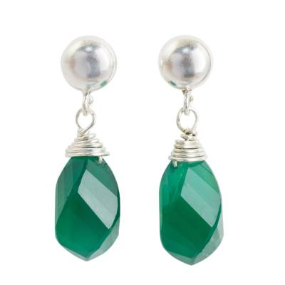 Green Chalcedony Briolette Earrings with Sterling Silver