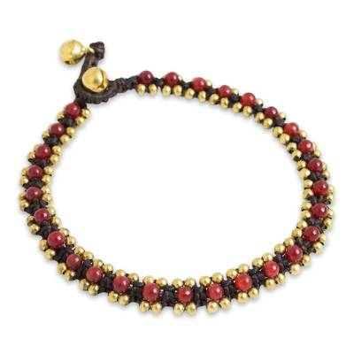 Red Quartz Hand Crocheted Anklet with Brass Beads and Bells