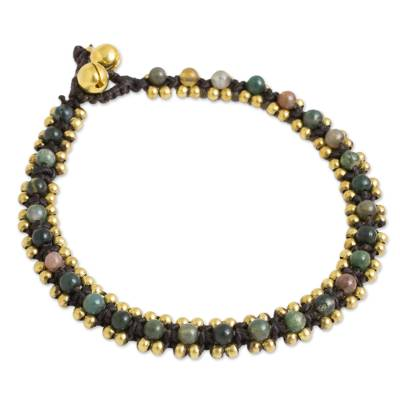 Thailand Crocheted Agate Anklet with Brass Beads and Bells