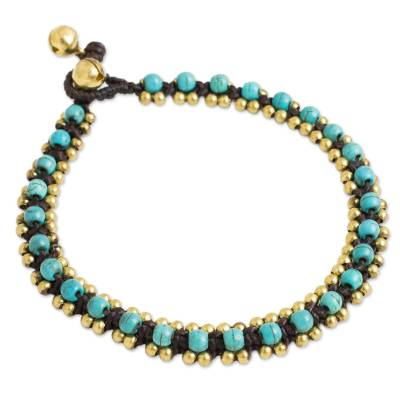 Hand Crocheted Anklet with Calcite and Brass Beads and Bells