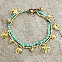 Calcite anklet, 'Elephant Bells' - Calcite Bell Anklet with Brass Beads and Charms