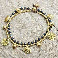 Lapis lazuli anklet, 'Elephant Bells' - Bell Anklet with Brass Charms and Lapis Lazuli