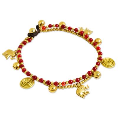 Red Quartz Charm Anklet with Brass Beads and Bells