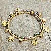 Agate anklet, 'Elephant Bells' - Colorful Thai Agate Bell Anklet with Brass Beads and Charms