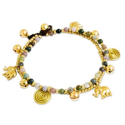 Colorful Thai Agate Bell Anklet with Brass Beads and Charms