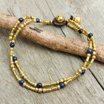 Lapis lazuli anklet, 'Golden Bell' - Double Strand Brass Bead Anklet with Lapis Lazuli