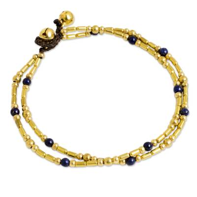 Double Strand Brass Bead Anklet with Lapis Lazuli