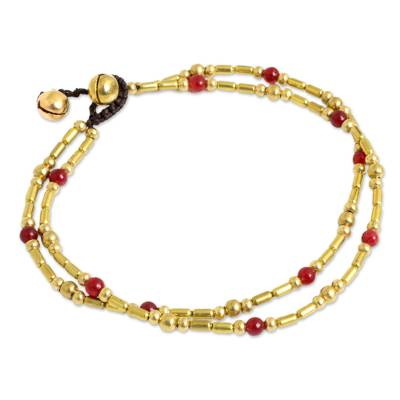Double Strand Brass Bead Anklet with Red Quartz Beads