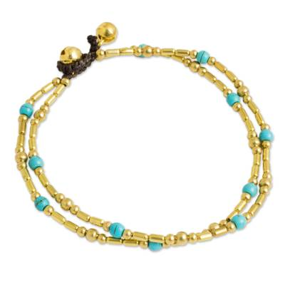 Thailand Blue Calcite Double Strand Brass Bead Anklet