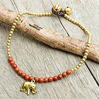 Jasper anklet, 'Stylish Elephant' - Beaded Brass Elephant Charm Anklet with Jasper