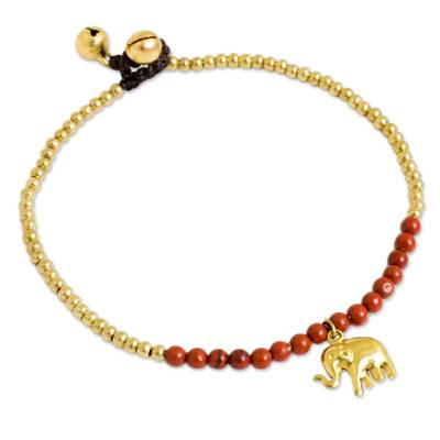 Beaded Brass Elephant Charm Anklet with Jasper