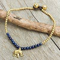 Lapis lazuli anklet, 'Stylish Elephant' - Lapis Lazuli Elephant Charm Beaded Brass Anklet