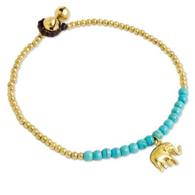 Blue Calcite Elephant Charm Beaded Brass Anklet