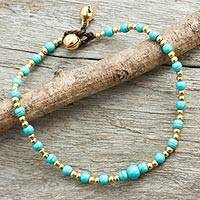 Calcite anklet, 'Cheerful Walk' - Blue Calcite and Brass Single Strand Anklet