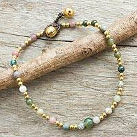 Agate anklet, 'Cheerful Walk' - Colorful Agate and Brass Handcrafted Anklet