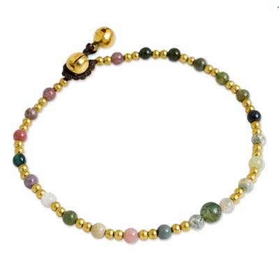 Novica Agate and Brass Handcrafted Anklet