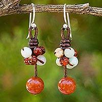 Carnelian and amazonite dangle earrings, 'Cluster of Kisses' - Carnelian Amazonite and Jasper Handcrafted Earrings