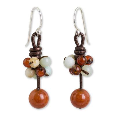 Carnelian Amazonite and Jasper Handcrafted Earrings
