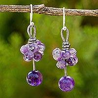 Amethyst dangle earrings, 'Cluster of Kisses' - Artisan Crafted Amethyst Earrings with Leather and Silver