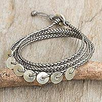 Leather and silver wrap bracelet, ?Silver Round Factor? - Grey Leather Wrap Bracelet with Hill Tribe Silver Charms