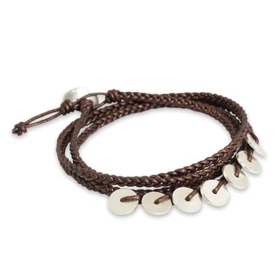 Fair Trade Fine Silver Braided Leather Bohemian Wrap Bracelet