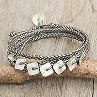 Silver and leather wrap bracelet, 'New Silver Aesthetic'