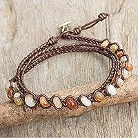 Jasper and leather wrap bracelet,