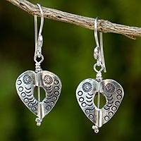 Silver dangle earrings, 'Loving Karen Heart' - Heart Theme Handcrafted Thai Hill Tribe Silver Earrings